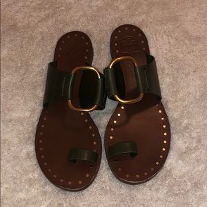Tory Burch sandals olive green and gold